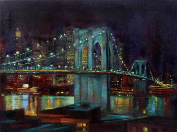 Fdr Painting - Brooklyn Bridge At Night New York City by Hall Groat II