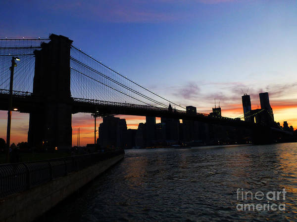 Photograph - Brooklyn Bridge At Sunset by Steven Spak