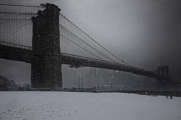 Photograph - Brooklyn Bridge Blizzard by Chris Lord