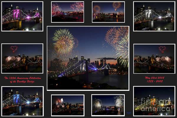 Photograph - Brooklyn Bridge Fireworks Collage by Steven Spak