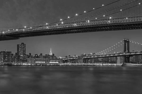 Photograph - Brooklyn Bridge Frames Manhattan Bw by Susan Candelario
