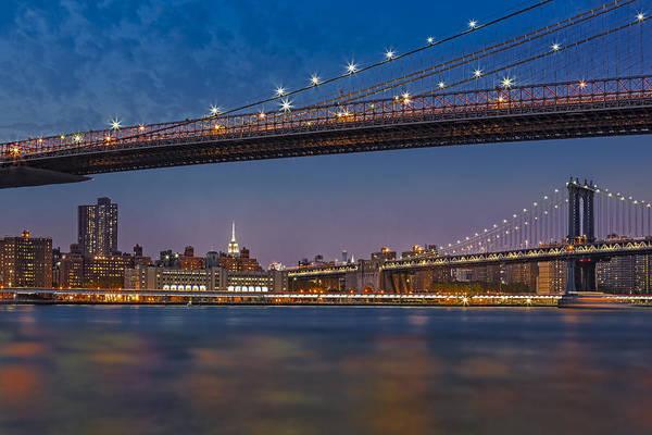 Bluehour Photograph - Brooklyn Bridge Frames Manhattan by Susan Candelario