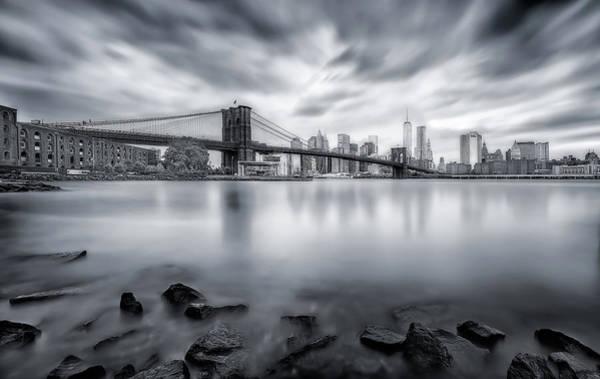 Rock Tower Photograph - Brooklyn Bridge by Javier De La