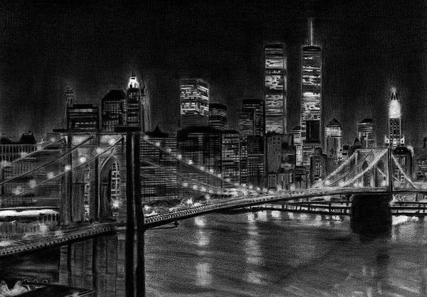 Twin Towers Drawing - Brooklyn Bridge New York by David Rives