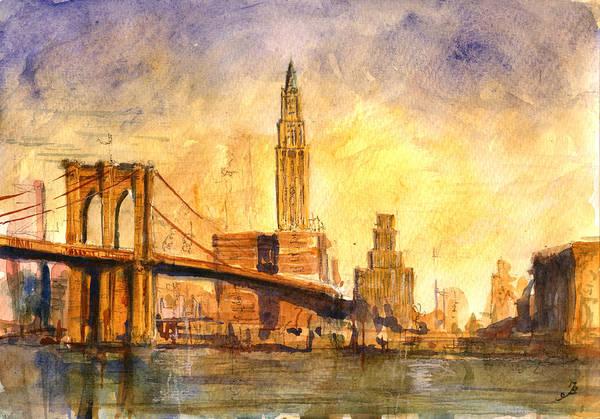 Manhattan Painting - Brooklyn Bridge New York by Juan  Bosco