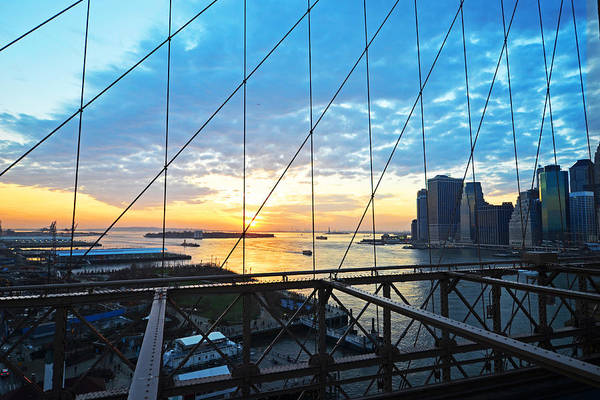 Photograph - Brooklyn Bridge Overlooking The Statue Of Liberty by Toby McGuire