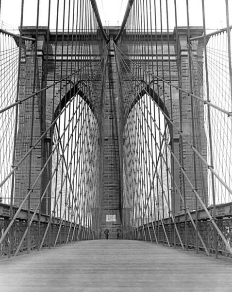 Promenade Photograph - Brooklyn Bridge Promenade by Underwood Archives