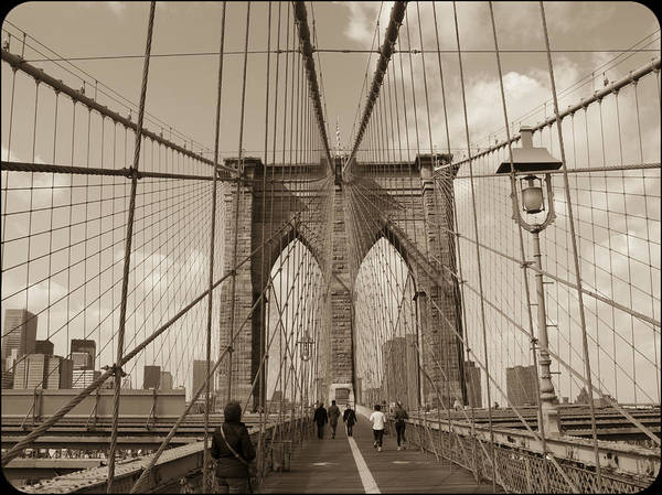 Photograph - Brooklyn Bridge Sepia by Frank Winters