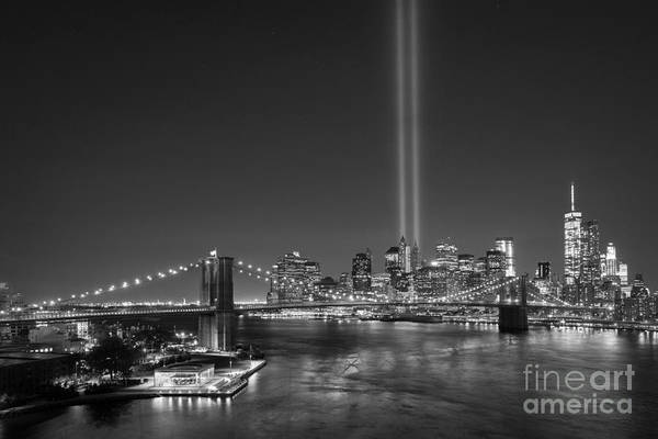 Liberty Bridge Photograph - Brooklyn Bridge September 11 Bnw by Michael Ver Sprill