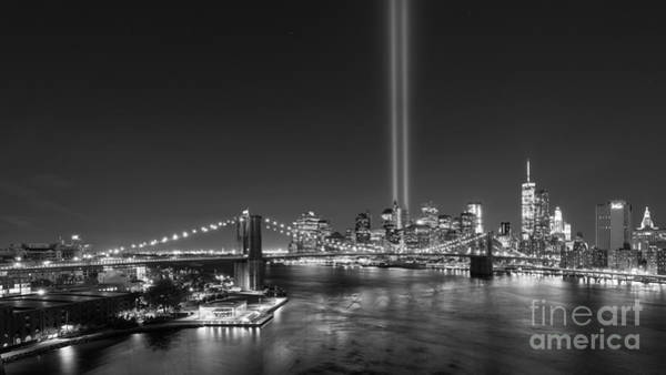 Liberty Bridge Photograph - Brooklyn Bridge September 11 Wide Crop Bnw by Michael Ver Sprill