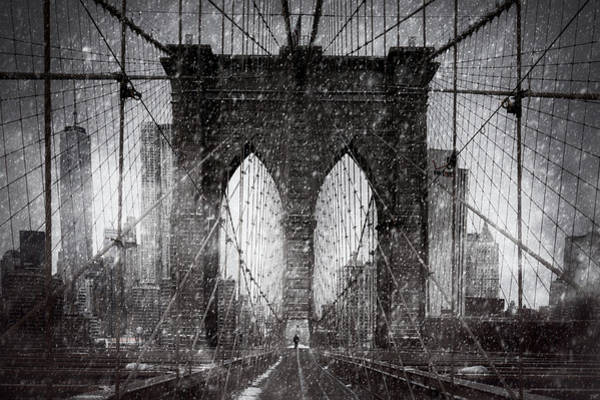 Photograph - Brooklyn Bridge Snow Day by Chris Lord