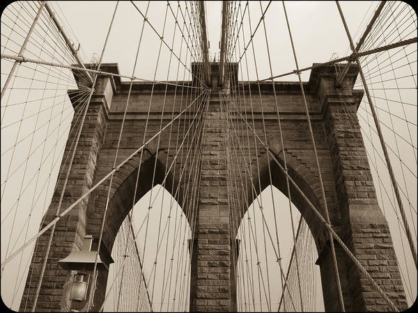 Photograph - Brooklyn Bridge Tower Sepia by Frank Winters