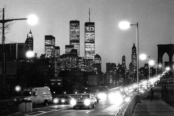 Photograph - Brooklyn Bridge Traffic II Dusk 1980s by Gary Eason