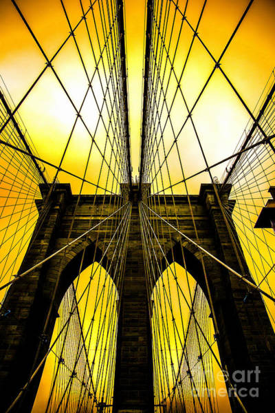 Architectural Digital Art - Brooklyn Bridge Yellow by Az Jackson