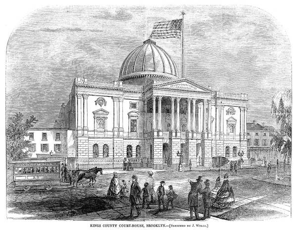 Courthouse Painting - Brooklyn Courthouse, 1865 by Granger