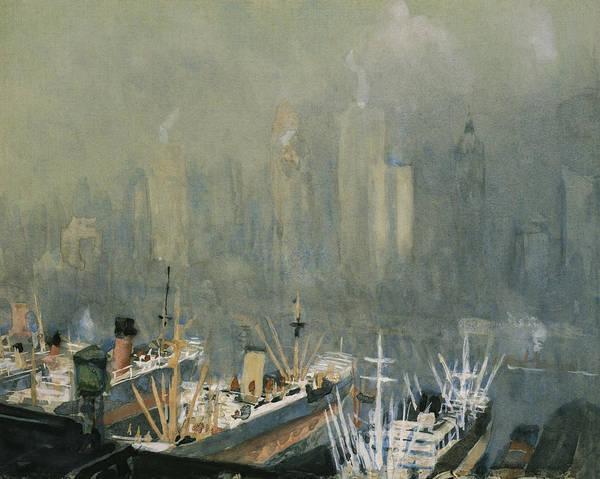Manhattan Skyline Painting - Brooklyn Harbor Circa 1921  by Aged Pixel