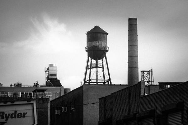 Photograph - Brooklyn Water Tower And Smokestack - Black And White Industrial Chic by Gary Heller