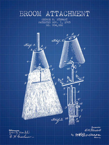 Broom Wall Art - Digital Art - Broom Attachment Patent From 1905 - Blueprint by Aged Pixel