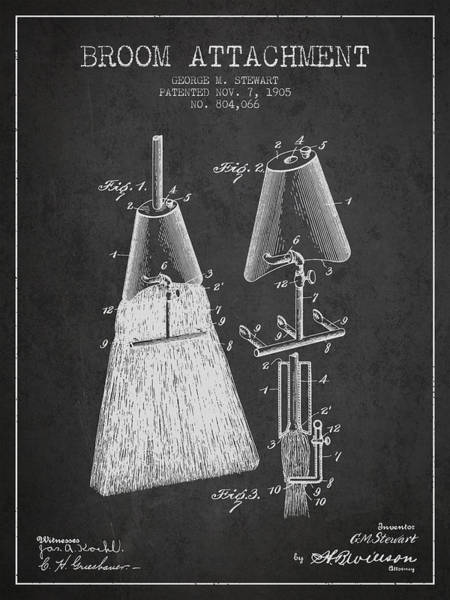 Broom Wall Art - Digital Art - Broom Attachment Patent From 1905 - Charcoal by Aged Pixel