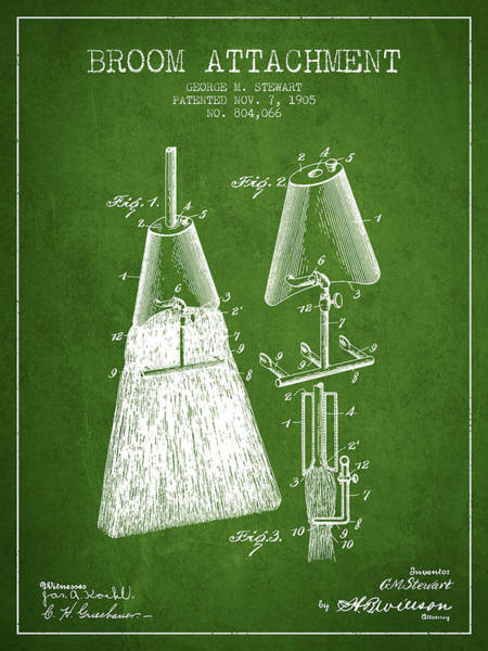Broom Wall Art - Digital Art - Broom Attachment Patent From 1905 - Green by Aged Pixel