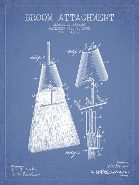 Broom Wall Art - Digital Art - Broom Attachment Patent From 1905 - Light Blue by Aged Pixel