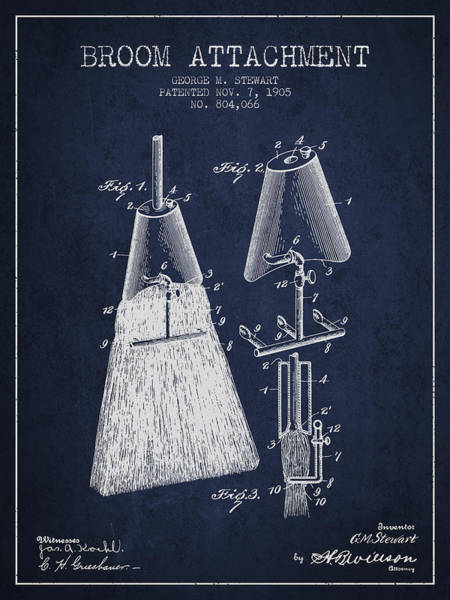 Broom Wall Art - Digital Art - Broom Attachment Patent From 1905 - Navy Blue by Aged Pixel
