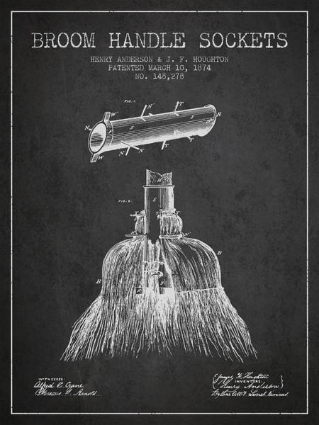 Broom Wall Art - Digital Art - Broom Handle Sockets Patent From 1874 - Charcoal by Aged Pixel