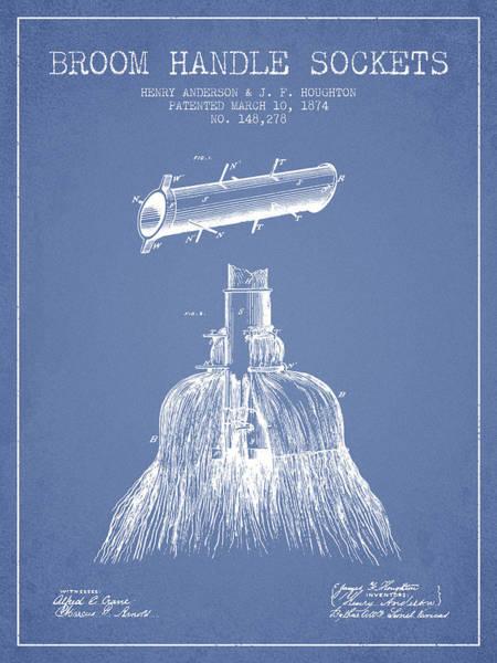 Broom Wall Art - Digital Art - Broom Handle Sockets Patent From 1874 - Light Blue by Aged Pixel