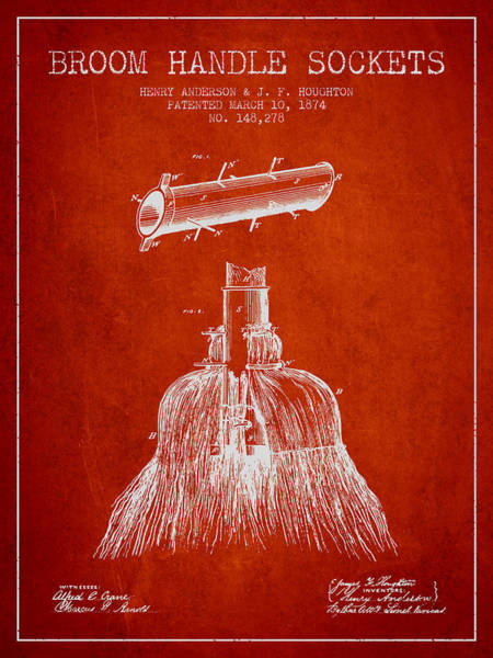 Broom Wall Art - Digital Art - Broom Handle Sockets Patent From 1874 - Red by Aged Pixel