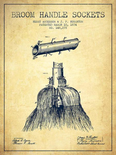 Broom Wall Art - Digital Art - Broom Handle Sockets Patent From 1874 - Vintage by Aged Pixel