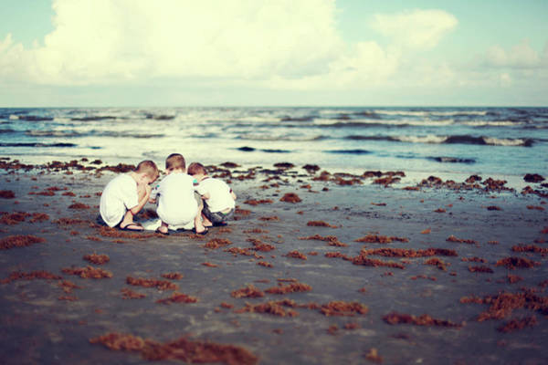 Seaweed Photograph - Brothers Playing In The Sand At The by Jenny Wymore - Sunkissed Photography