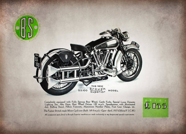 Superior Photograph - Brough Superior Ss100 Advert 1937 by Mark Rogan