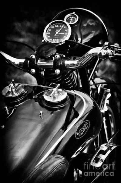Photograph - Brough Superior Ss80 Motorcycle Monochrome by Tim Gainey
