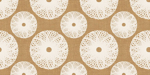 Flower Pattern Painting - Brown And White Floral by Linda Woods