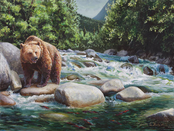 Brown Bear And Salmon On The River - Alaskan Wildlife Landscape Art Print