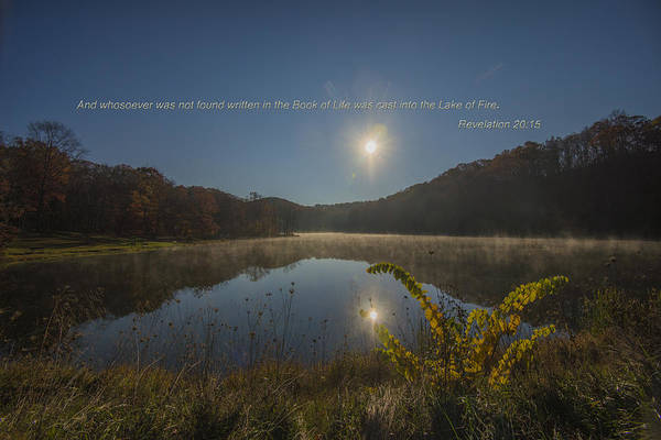 Brown County State Park Photograph - Brown County State Park Nashville Indiana Biblical Verse Ogle Lake by David Haskett II