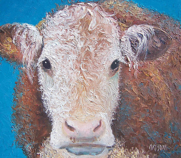 Hereford Bull Painting - Brown Cow by Jan Matson