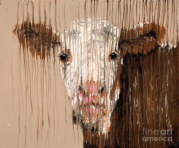 Hereford Bull Painting - Brown Cow by Scott Lindner