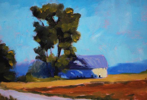 Pioneer Mountains Wall Art - Painting - Brown Farm Landscape by Nancy Merkle