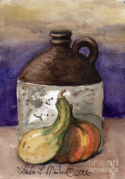 Painting - Brown Jug And Gourds by Linda L Martin