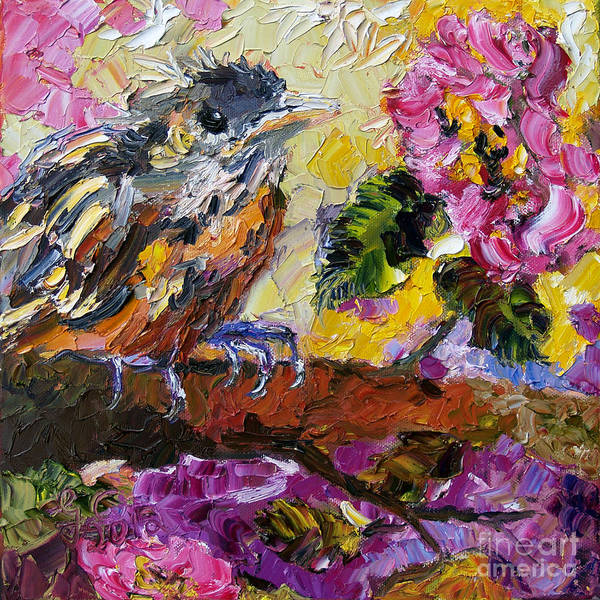 Painting - Brown Thrasher Baby Bird By Roses by Ginette Callaway
