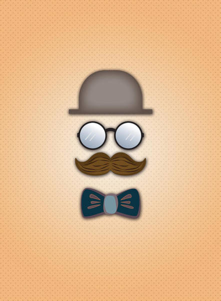 Wall Art - Digital Art - Brown Top Hat Moustache Glasses And Bow Tie by Ym Chin