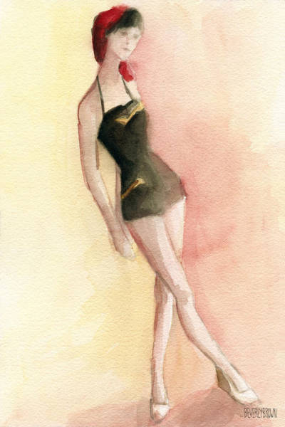 Brown Wall Art - Painting - Brown Vintage Bathing Suit 2 Fashion Illustration Art Print by Beverly Brown