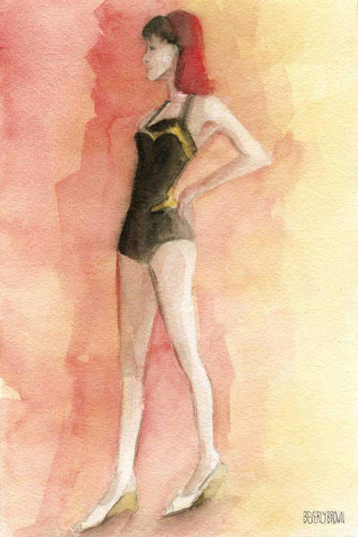 Brown Wall Art - Painting - Brown Vintage Bathing Suit 3 Fashion Illustration Art Print by Beverly Brown