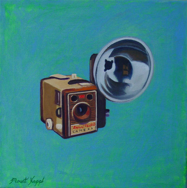 Camera Painting - Brownie Box Camera by The Vintage Painter