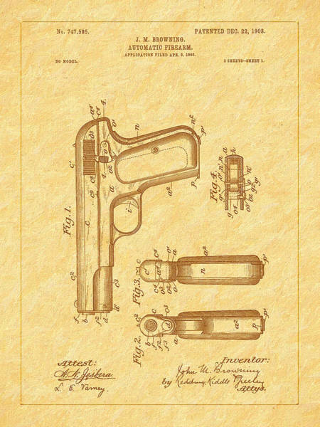 Photograph - Browning 1903 Automatic Pistol Patent by Barry Jones