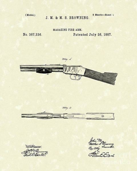 Rifle Drawing - Browning Fire Arm 1887 Patent Art by Prior Art Design