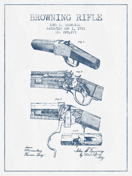 Antique Firearms Wall Art - Digital Art - Browning Rifle Patent Drawing From 1921 -  Blue Ink by Aged Pixel