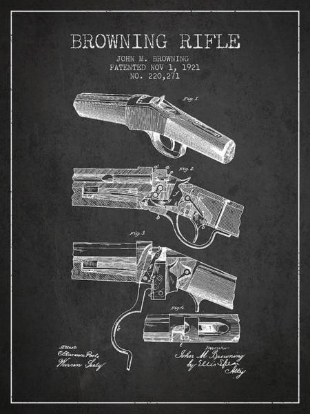 Shooting Digital Art - Browning Rifle Patent Drawing From 1921 - Dark by Aged Pixel