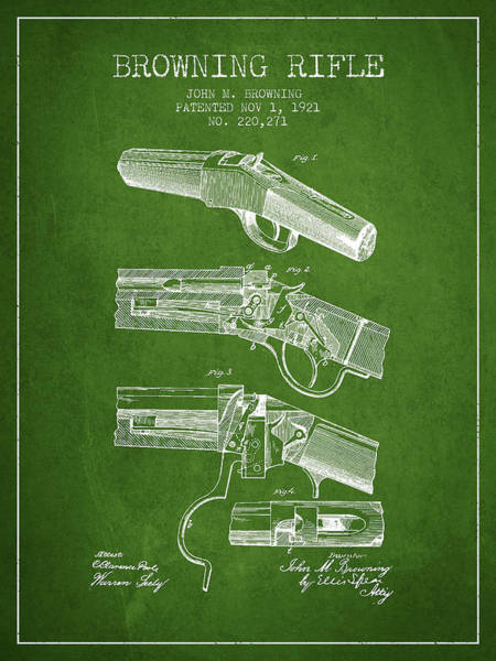 Weapons Digital Art - Browning Rifle Patent Drawing From 1921 - Green by Aged Pixel
